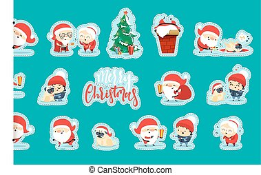 Quirky Santa Claus Funny Christmas characters in flat style....