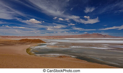 Quisquiro salar timelapse near Bolivia border, Chile -...