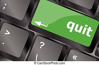 quit button on black internet computer keyboard. Keyboard keys icon button vector
