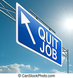 Illustration depicting a highway gantry sign with a quit job concept. Blue sky background.