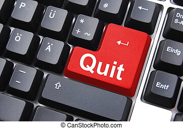 quit or exit key showing internet technology concept