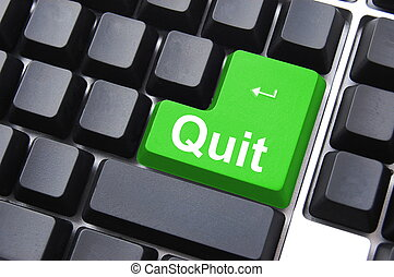 quit or exit key showing internet technology concept...