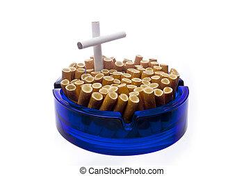 Quit smoking - Ashtray isolated over white