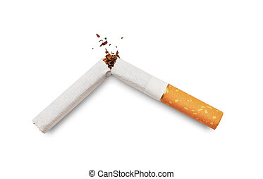 Quit smoking - Broken cigarette isolated on white background