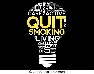 Quit Smoking bulb word cloud collage