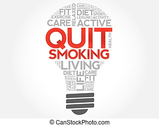 Quit Smoking bulb word cloud