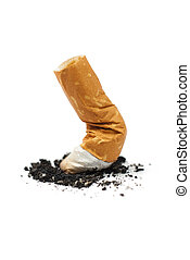 Quit Smoking - cigarette butt isolated on white