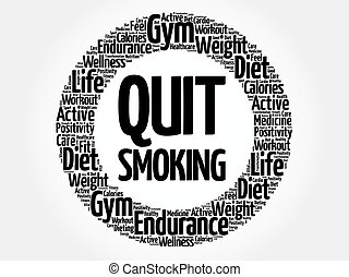 Quit Smoking circle word cloud, health concept