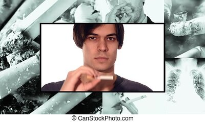 quit smoking, collage - Anti-smoking clip. Young man...
