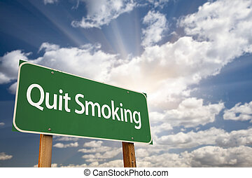 Quit Smoking Green Road Sign and Clouds - Quit Smoking Green...