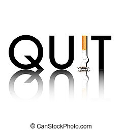New Year's resolution Quit Smoking concept with the i in quit being replaced by a stubbed out cigarette. EPS10 vector format.