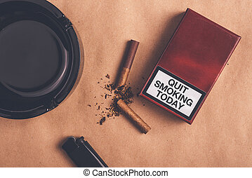 Quit smoking today concept, top view