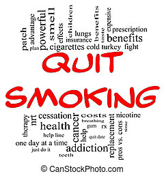 Quit Smoking Word Cloud Concept in red & black - Quit...