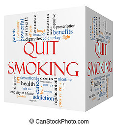 Quit Smoking Word Cloud Concept on a 3D cube with great...