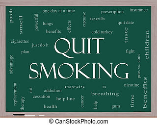 Quit Smoking Word Cloud Concept on a Blackboard with great ...