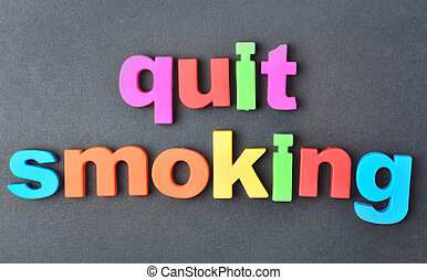 Quit smoking words on background