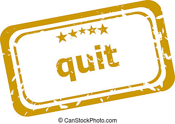 quit stamp isolated on white background