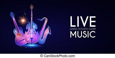 quitar, bajo, concierto música, template., electirc, cartel,...