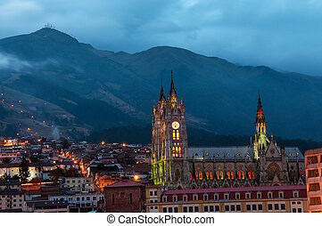 Quito Basilica at Night - Night time view of the basilica...