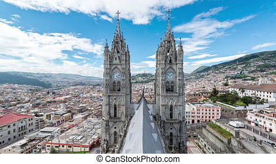 Timelapse of clouds passing over the Basilica in Quito, Ecuador