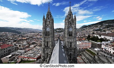 Quito Basilica View - View of the two spires of the basilica...