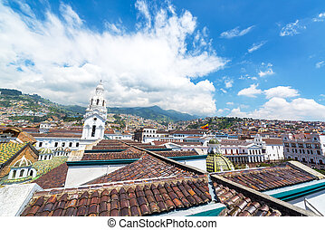 Quito Colonial Cityscape - View of the city of Quito,...