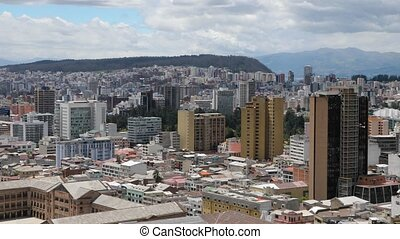 View of Quito, Ecuador from a lookout point in the Cathedral, camera zooming in