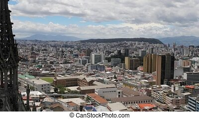 View of Quito, Ecuador from a lookout point in the Cathedral, camera zooming out