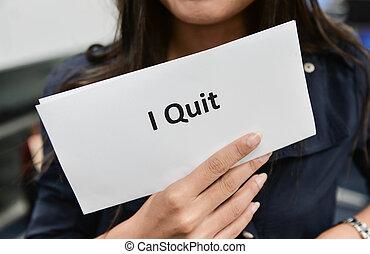 quitter, affaires femme, projection, -, métier, document, démission