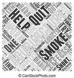 quitter, concept, mot, aide, boîte, acupuncture, fumer, vous, nuage