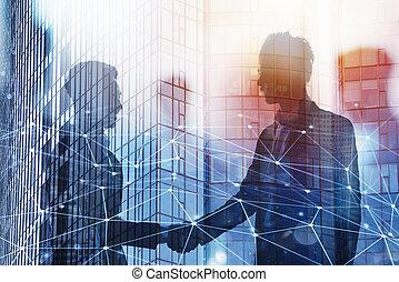 quittungsbetrieb, geschäftsperson, in, buero, mit, vernetzung, effect., begriff, von, gemeinschaftsarbeit, und, partnership., doppelte belichtung