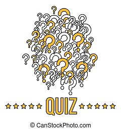 Quiz banner or cover template with question marks. Vector illustration
