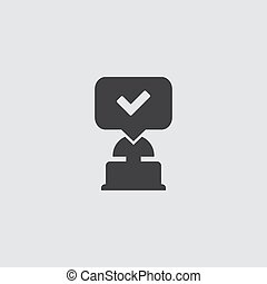 Quiz button icon in balck on a gray background. Vector illustration