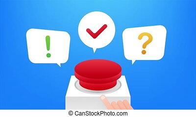 Quiz Button with speech bubble symbols, concept of questionnaire show sing, quiz button. illustration