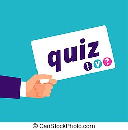 Quiz concept. Hand holding banner with quiz text. Cartoon vector illustration
