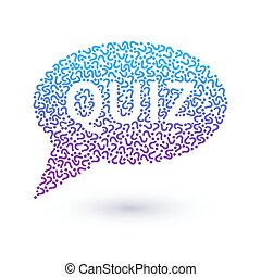 Quiz concept, question marks in shape of speech bubble