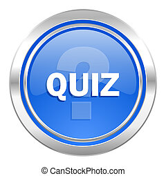 quiz icon, blue button