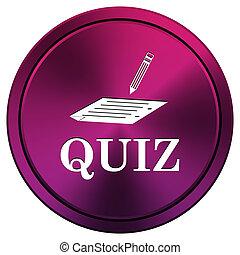 Quiz icon - Metallic icon with white design on mauve ...