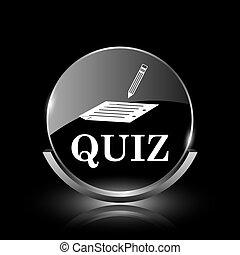 Quiz icon - Shiny glossy glass icon on black background