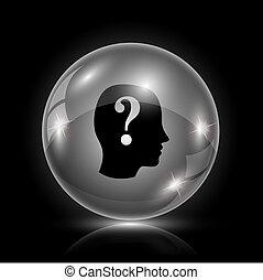 Quiz icon - Shiny glossy icon - glass ball on black...