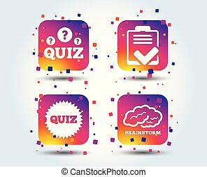 Quiz icons. Checklist and brainstorm symbols.