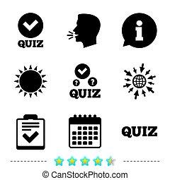 Quiz icons. Checklist with check mark symbol.