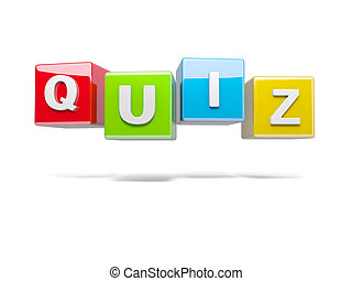 Quiz - Inscription on the cubes of red, quiz