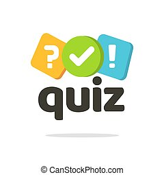 Quiz logo icon vector symbol, flat cartoon bubble speeches with question and check mark signs as competition game or interview logotype, poll questionnaire insignia isolated