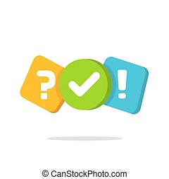 Quiz logo icon vector symbol, flat cartoon color bubble speeches with question and check mark signs as competition game or interview logotype, poll or questionnaire modern creative image