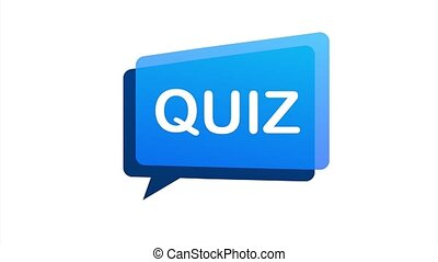Quiz logo with clock, concept of questionnaire show sing, quiz button, question competition. stock illustration