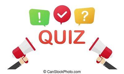 Quiz logo with speech bubble symbols, concept of questionnaire show sing, quiz button, question competition. Motion graphics