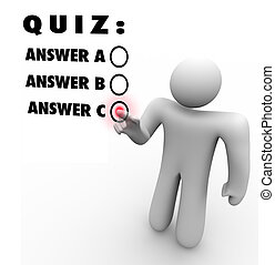 Quiz Multiple Choice Choosing Best Answer Test - The words...