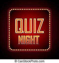 Quiz night announcement poster design web banner background. Vector illustration