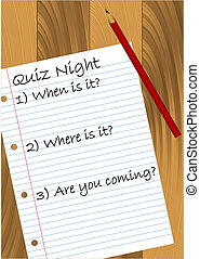 Quiz Night design. Available in jpeg and eps8 format.